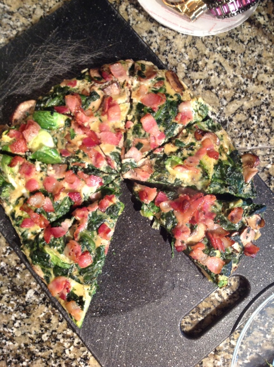Bacon, Spinach, Brussels, Eggs - Pizza Style